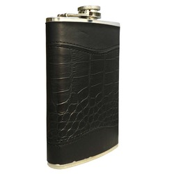 Outdoor Portable Foreskin Mini Hip Flask 8oz Crocodile Leather Stainless Steel Hip Flask