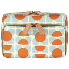 Square Flower Orange & Blue Double Zip Cosmetic Bag With Compartments