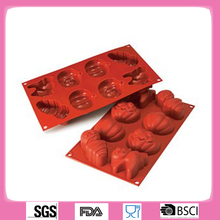8 holes silicone Halloween chocolate molds,halloween cake molds,Mummy pumpkin bat cake molds