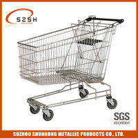 four wheel shopping trolley cart with coin locks