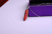 Wholesale Natural Gold Stone 6 Side Cone With Silver Chain Necklace Semi Precious Stone Jewelry Necklace For Women Girl