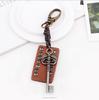 custom logo metal name keychain, vintage leather key chain for businessman