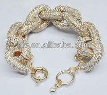Inspired Gold Chunky Pave Rhinestones Chain Link Bracelet