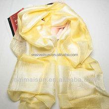 new fashion long women jacquard yellow silk scarf