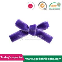 Hademade Small Velvet Ribbon Flower ,Purple Ribbon Velvet Bow For Bra Decoration