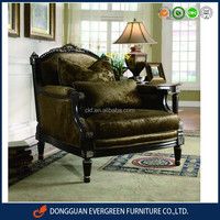 French Style Antique wooden living room arm chairs with hand made gold leaf carving EF1431