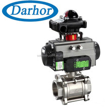 Accord with ISO5211 standard pneumatic 3 stainless steel ball valve