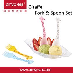 D705 creative cartoon giraffe fruit fork and dessert spoon set(PC plastic fort&spoon)