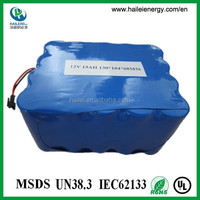 UL approval rechargeable lifepo4 12v 15ah battery
