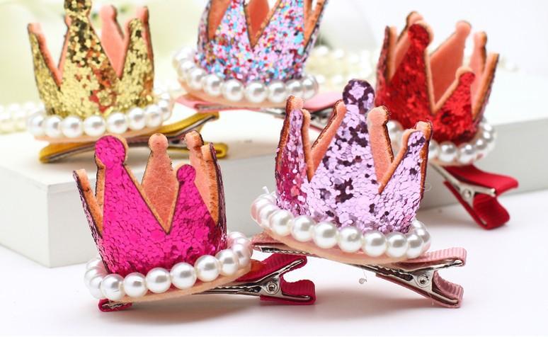 Tocado de la princesa para los niños rhinestone de la perla brillo accesorio para pelo para