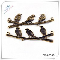 magpie style charm vintage bronze chunky snap charm Flat Charm ZX-A23881