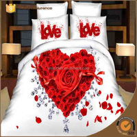 Romantic Love Colorful warm king with big flower pattern polyester 3d reactive printing nature bed sheet