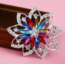 Wedding Muticolor Crystal Rhinestone Flower Korean Brooches