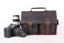 1088 Moshi Genuine Cowhide Leather DSLR Camera Bag fit One Camera Body with 2 Extra Lenses