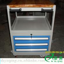 3 drawers metal garage & workshop shorage glide tool trolley & tool cabinet with wooden top