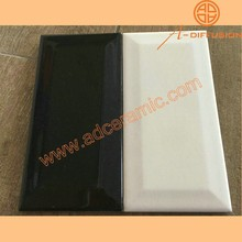 "3X6"" white and black bevelled tiles 7.5x15cm"