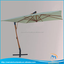3M*3M Outdoor Wooden Hanging Patio Umbrella with Cross Base