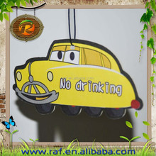 2015 scented Customized design China factory custom absorbent scented cartoon hanging car paper air freshener
