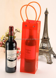 Red clear single bottle wine tote/ bottle wine cooler bag