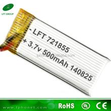high rate WLToys Part V959-09 721855 3.7V 500mAh lithium ion polymer lipo battery for Quadcopter V959 V929-USA