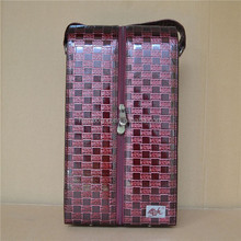 grid style leather wine bottle carrier/2 bottle wine carrier