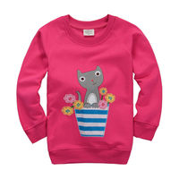 brand clothes from china suit for 2-6 year old child Cotton long sleeve T-shirt hoodies Pure cotton cat printed t-shirts