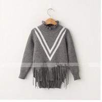 ME60004C ruffle neck Korean fashion kids 2015 sweater designs for girls
