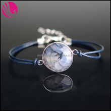 Handmade Vintage Antique Leather Rope Rhodium Plated Alloy Wrapped Natural Round Agate Gemstone Bracelets