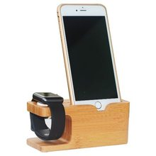 Mobile Phone Holder Mount Wood Charging Watch Stand for Apple Watch and for iPhone 6