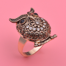 Fashion engagement jewelry 18K gold owl ring