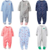 Import china products carter's baby 100% cotton long sleeve rompers with feet newborn pajamas