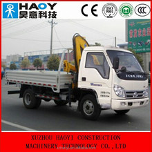FOTON 4*2 small truck mounted crane with hydraulic telescopic knuckle boom dump truck for sale