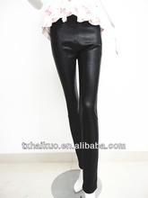 elegante 2013 las chicas de moda sexy negro ajustado ovejas elástica pantalones de cuero