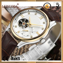 New arrival fashion design high quality cow genuine leather band Automatic mechanical watch