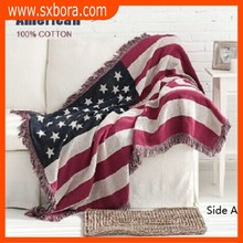 blanket With America Flag Pattern Woven Cotton Throw Brand New Sofa Blanket