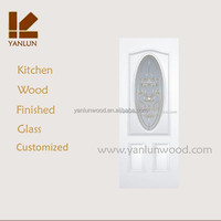 white color MDF with red walnut veneer wrought iron glass carved exterior glass door