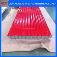 red waved corrugated prepainted steel sheet roof tile