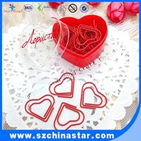 OEM promotional gift heart shape paper clip with heart pp box