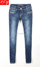 ladies jeans cotton spandex with heavy stitch thick thread jeans skinny new fashion woman denim design jean in china