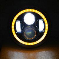 7'' motorcycle led headlight, led motorcycle headlight with cree led, 7'' led headlight with white yellow angel eyes