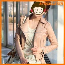 2015 Outlet PU leather ladies cool PU jacket liquidation 150304e