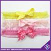 Fancy Infant Girls Headband Lace Elastic Hairband with Grosgrain Bow