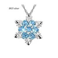 F.Y.L jewelry genuine sparkling 2015 new S925 SILVER JEWELRY 925 sterling silver cubic zircon snowflake necklace