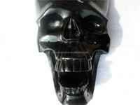 Natural black obsidian crystal hanging skulls with snake