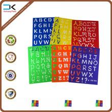 Alfabeto projeto pp plástico desenho entalhe stencil para crianças
