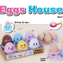 Colorful portable Cartoon Houses egg box(6in) eggs plastic box