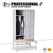 China furniture cold rolled customized 2 door steel locker with bench