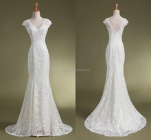 WD059 Sexy Open Back Mermaid Cap Sleeve V-neck Lace Wedding Dress