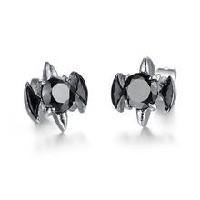 2015 Wholesale Brincos New Fashion Jewelry Black Zircon Stainless Steel Anti Allergy Stud Earrings Hot Sale For Women/Men GE278