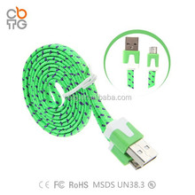 2015 the best flat braided fabric USB cable